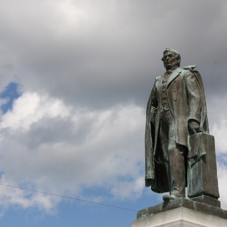 Bronze statue of William Hamilton Merritt in downtown St. Catharines