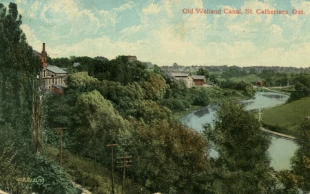 Postcard of the Twelve MIle Creek Valley showing the old Welland Canal