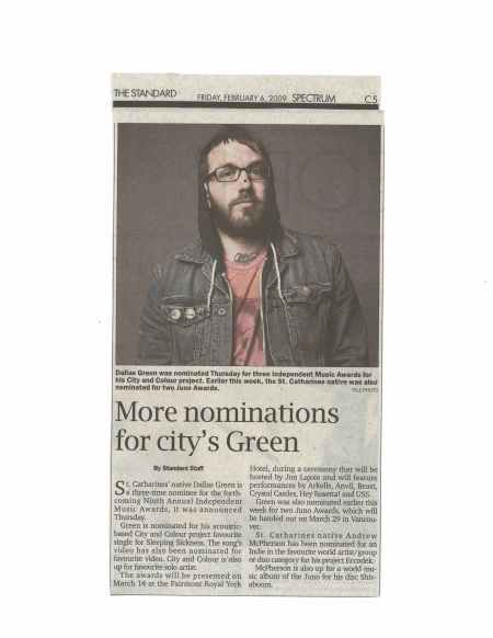 Newspaper clipping of Dallas Green's awards nominations