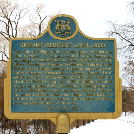 Province of Ontario Heritage Plaque describing the life of Richard Pierpoint