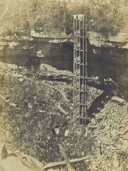 Spiral staircase that used to take visitors to the river bed below Decew Falls