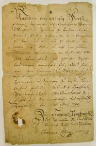 Johannes Morgenstern's reference letter (Abschiedschein) from 1749 in the Morningstar Mill collection