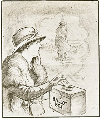 Detail of a poster, a woman is placing her vote into a ballot box while thinking of a soldier overseas, shown standing next to her in a sketch.