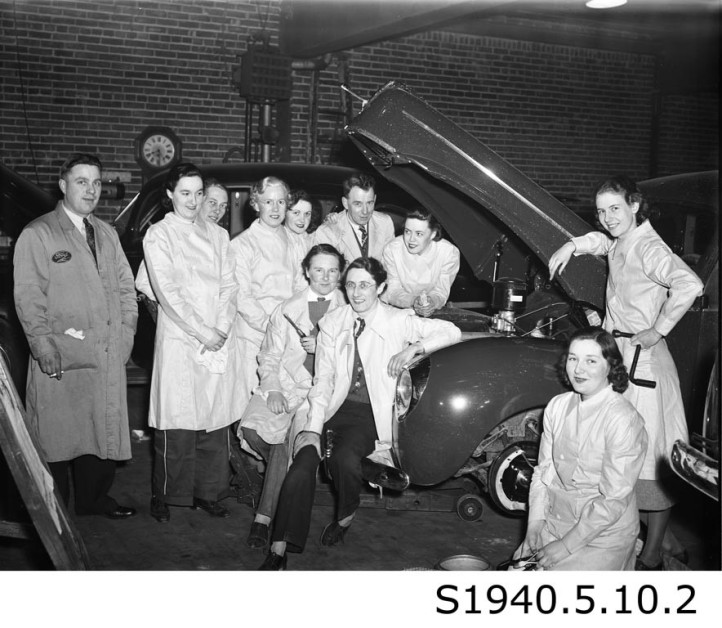 """Girls Automechanics Class - Lincoln Motors II,"" 1940. STCM St. Catharines Standard Collection, S1940.5.10.2."