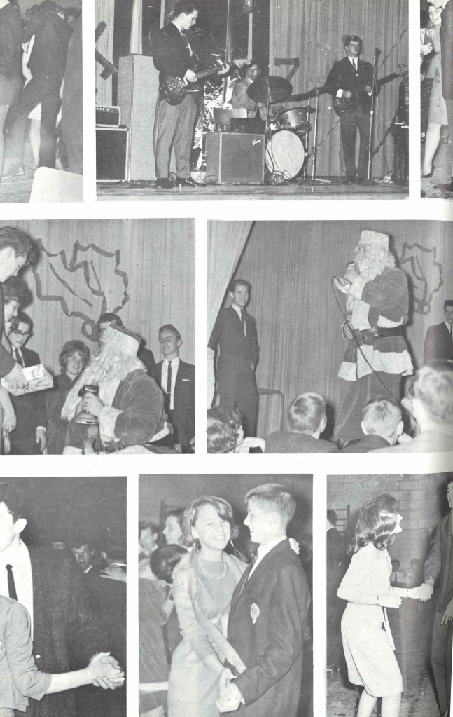 Collage of photos from Sir Winston Churchill High School Christmas 1963 festivities.